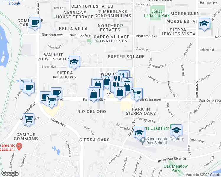 map of restaurants, bars, coffee shops, grocery stores, and more near 2301-2351 Hurley Way in Sacramento
