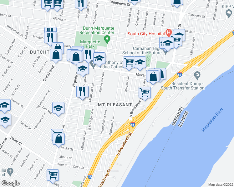 map of restaurants, bars, coffee shops, grocery stores, and more near 4334 Nebraska Avenue in St. Louis