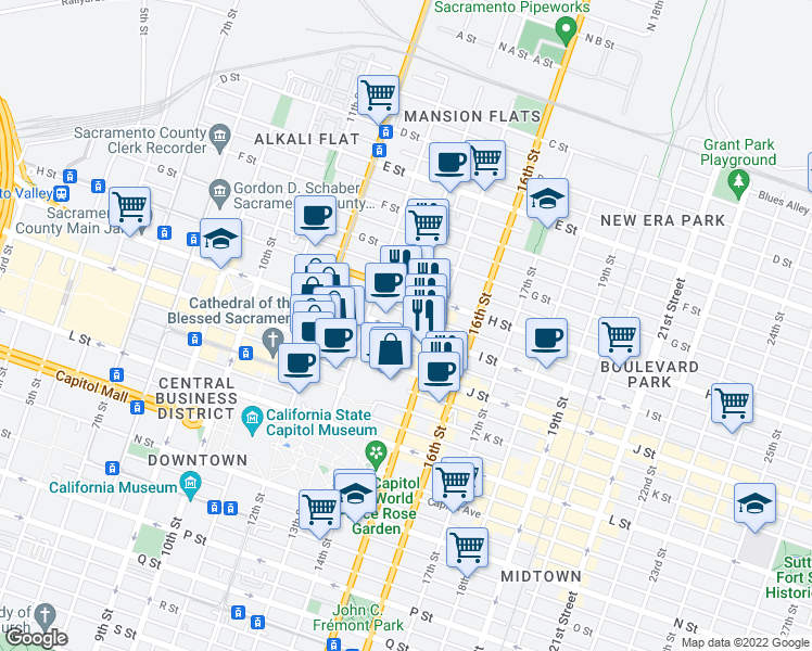 map of restaurants, bars, coffee shops, grocery stores, and more near 1401 I Street in Sacramento