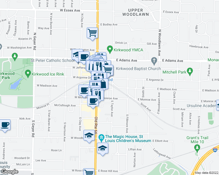 map of restaurants, bars, coffee shops, grocery stores, and more near 141 East Madison Avenue in Kirkwood