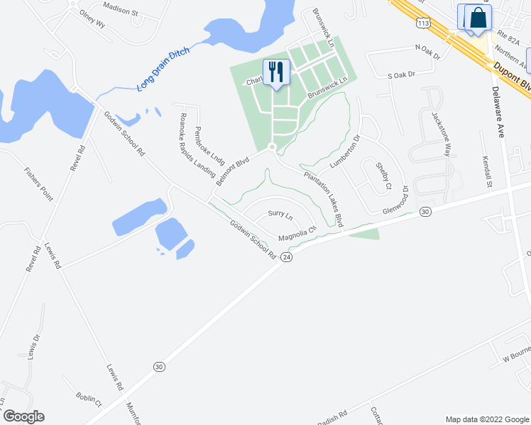 map of restaurants, bars, coffee shops, grocery stores, and more near 22976 Surry Lane in Millsboro