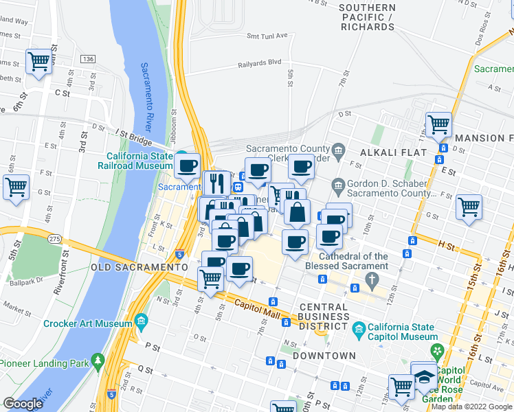 map of restaurants, bars, coffee shops, grocery stores, and more near 420 I Street in Sacramento