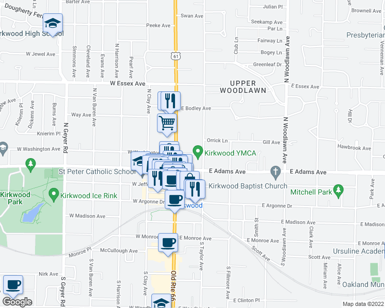 map of restaurants, bars, coffee shops, grocery stores, and more near 117 East Washington Avenue in Kirkwood