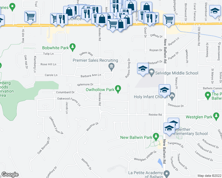 map of restaurants, bars, coffee shops, grocery stores, and more near 807 Kylewood Place in Ballwin
