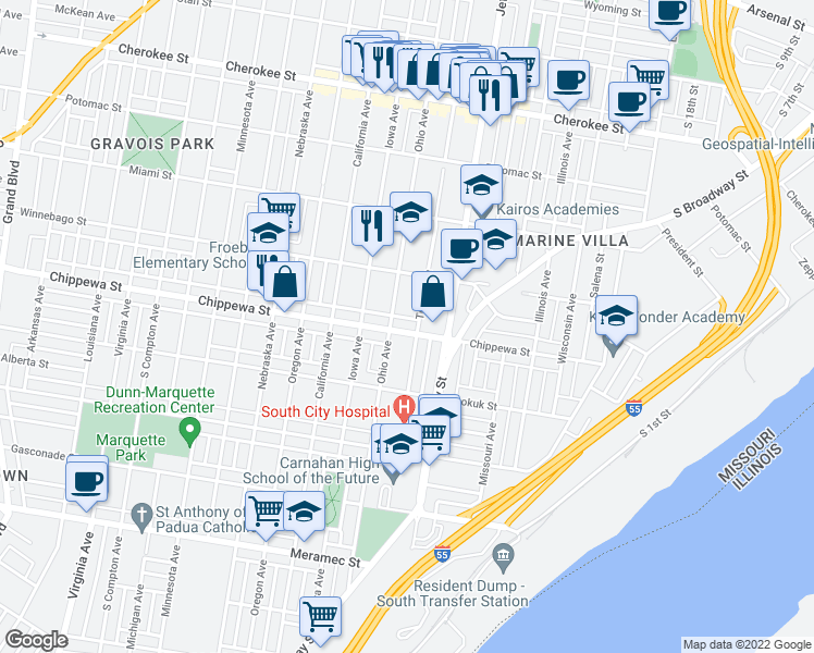 map of restaurants, bars, coffee shops, grocery stores, and more near 2635 Chippewa Street in St. Louis