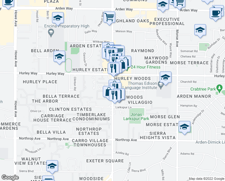 map of restaurants, bars, coffee shops, grocery stores, and more near 1250 Fulton Avenue in Sacramento