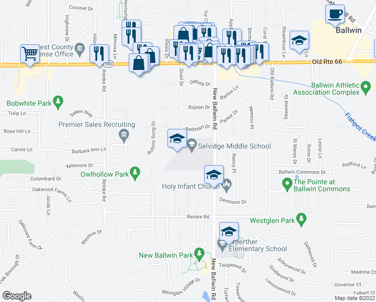 map of restaurants, bars, coffee shops, grocery stores, and more near 235 New Ballwin Road in Ballwin