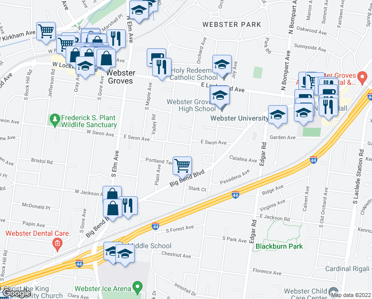 map of restaurants, bars, coffee shops, grocery stores, and more near 236 East Swon Avenue in Webster Groves