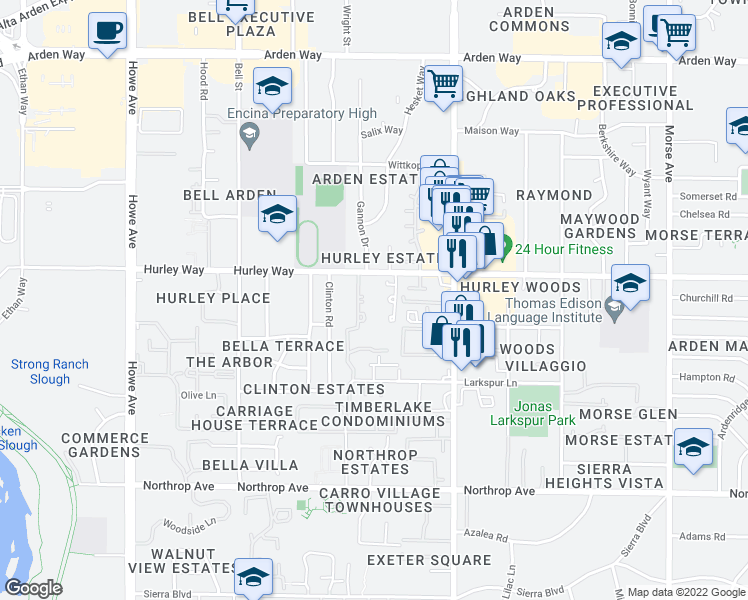 map of restaurants, bars, coffee shops, grocery stores, and more near 2424 Hurley Way in Sacramento
