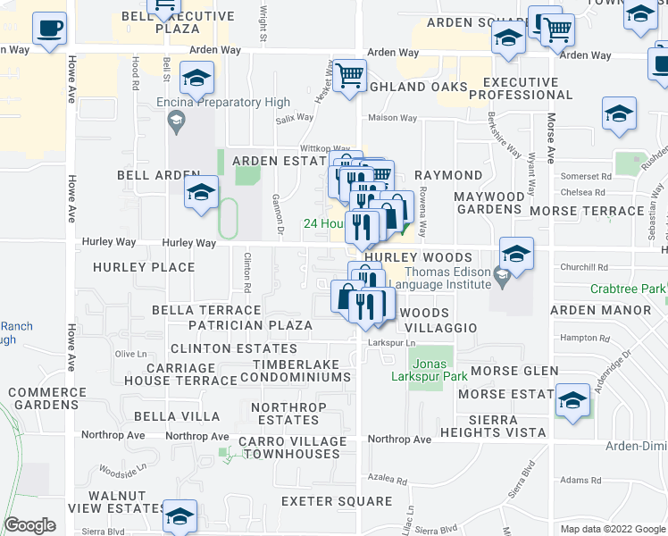 map of restaurants, bars, coffee shops, grocery stores, and more near 1257 Fulton Avenue in Sacramento