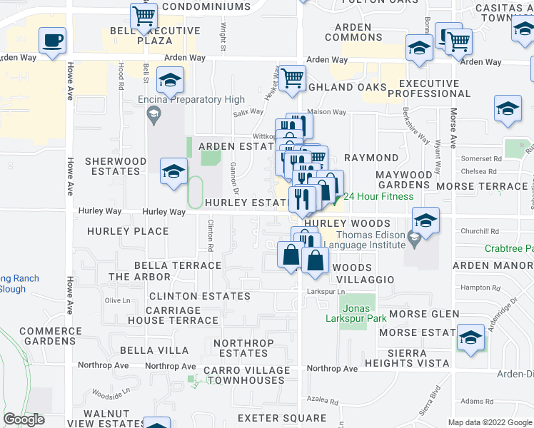 map of restaurants, bars, coffee shops, grocery stores, and more near 1302 Oak Terrace Court in Sacramento