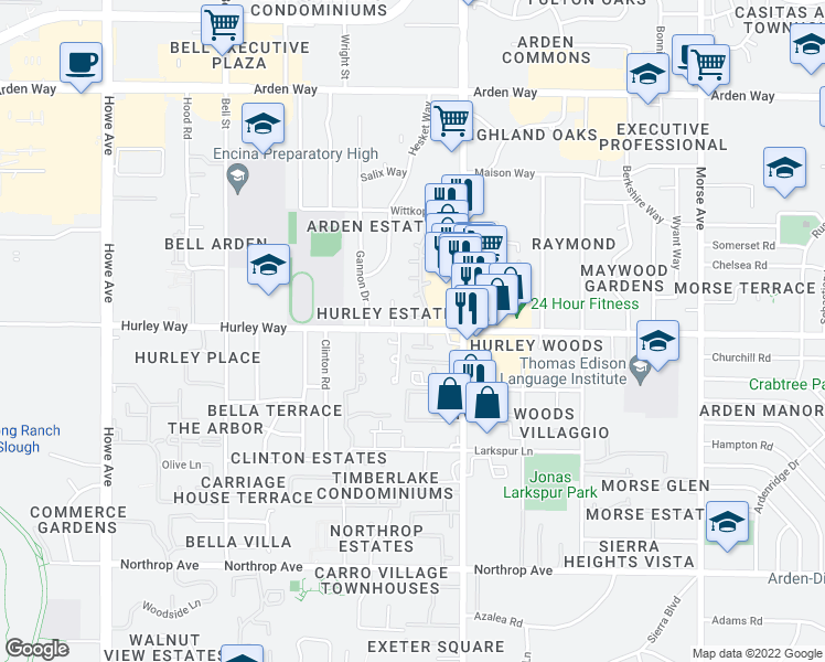 map of restaurants, bars, coffee shops, grocery stores, and more near 1300 Oak Terrace Court in Sacramento