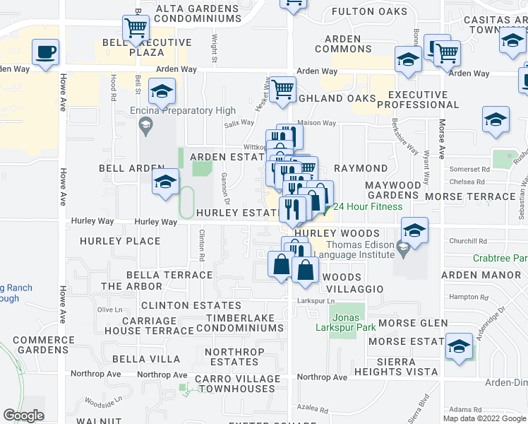 map of restaurants, bars, coffee shops, grocery stores, and more near 2501 Hurley Way in Sacramento