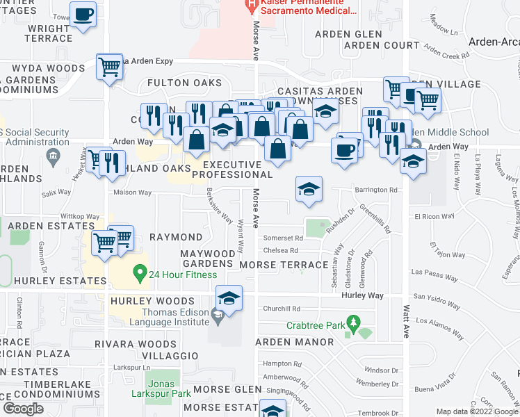 map of restaurants, bars, coffee shops, grocery stores, and more near 3100-3198 Trussel Way in Sacramento