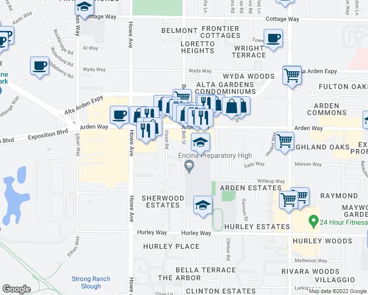 map of restaurants, bars, coffee shops, grocery stores, and more near 1620 Bell Street in Sacramento