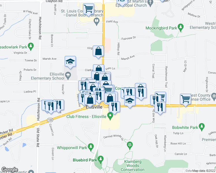 map of restaurants, bars, coffee shops, grocery stores, and more near 1203 Clarkson Court in Ellisville