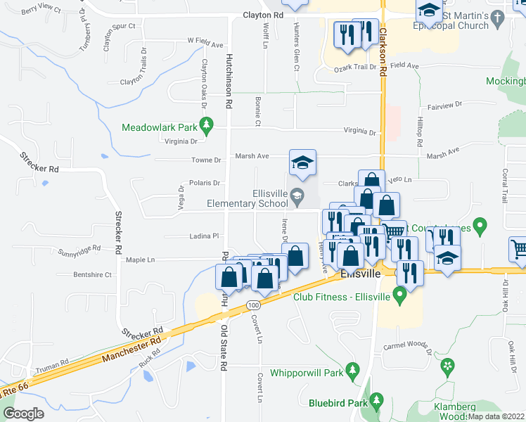 map of restaurants, bars, coffee shops, grocery stores, and more near Froesel Drive in Ellisville