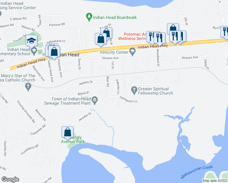 map of restaurants, bars, coffee shops, grocery stores, and more near 21 Meadowside Court in Indian Head