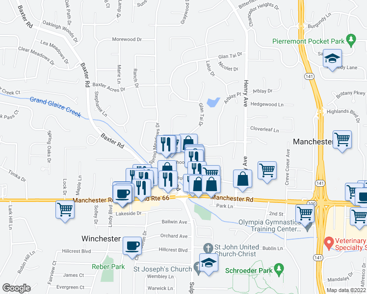 map of restaurants, bars, coffee shops, grocery stores, and more near 420 Royal Village Drive in Ballwin