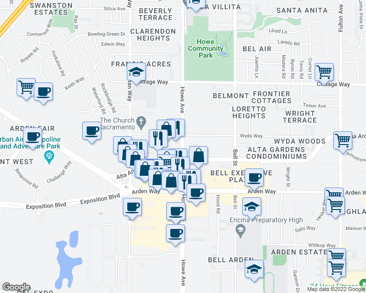 map of restaurants, bars, coffee shops, grocery stores, and more near Howe Avenue in Sacramento