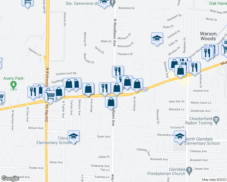 map of restaurants, bars, coffee shops, grocery stores, and more near 10301-10323 Manchester Road in Kirkwood