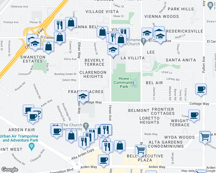 map of restaurants, bars, coffee shops, grocery stores, and more near 2201 Howe Avenue in Sacramento