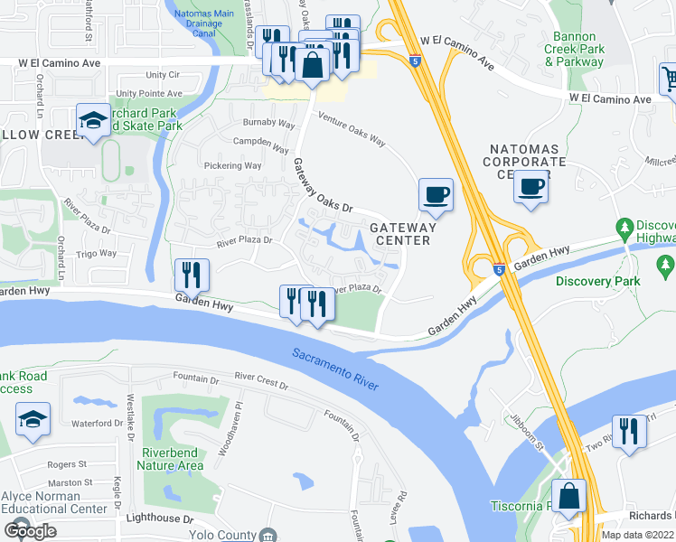 map of restaurants, bars, coffee shops, grocery stores, and more near 2227 River Plaza Drive in Sacramento