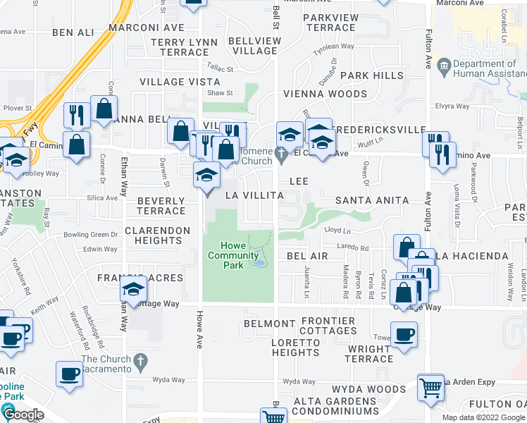 map of restaurants, bars, coffee shops, grocery stores, and more near 2308 Barcelona Way in Sacramento