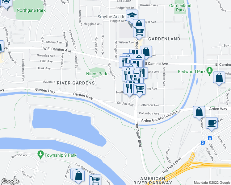 map of restaurants, bars, coffee shops, grocery stores, and more near Northview Drive & Northfield Drive in Sacramento