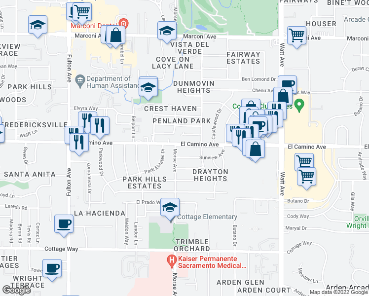 map of restaurants, bars, coffee shops, grocery stores, and more near 3108 El Camino Avenue in Sacramento