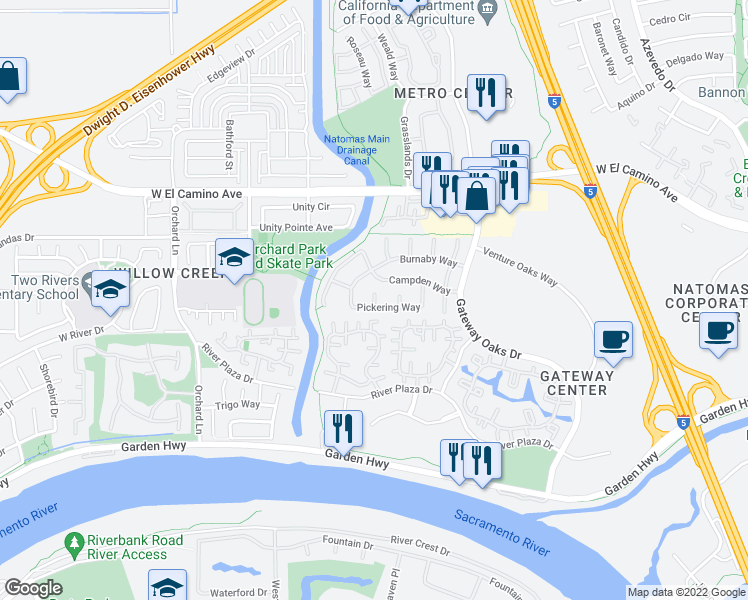 map of restaurants, bars, coffee shops, grocery stores, and more near Danrobin Court in Sacramento