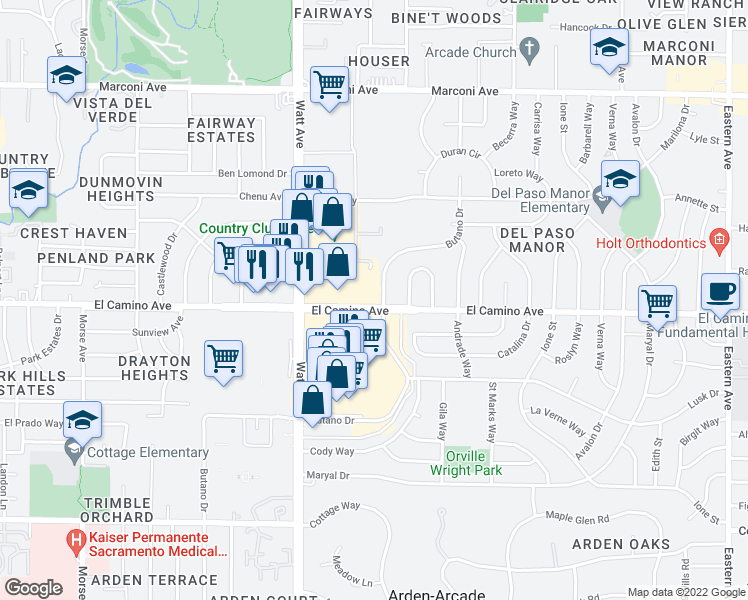 map of restaurants, bars, coffee shops, grocery stores, and more near 3611 El Camino Avenue in Sacramento