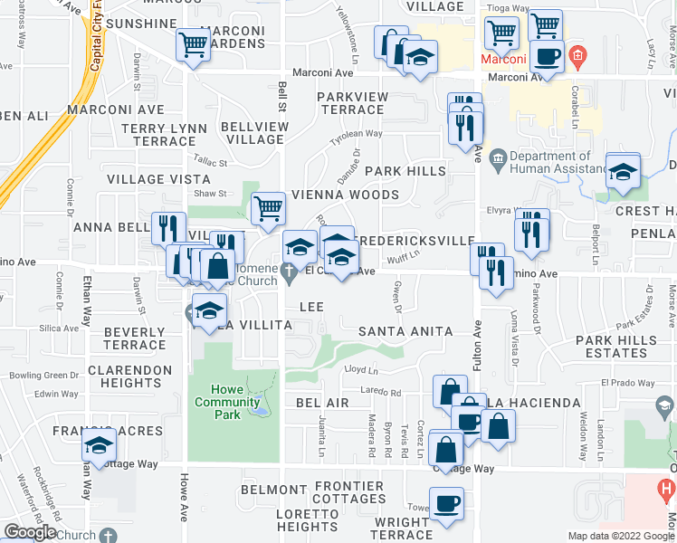 map of restaurants, bars, coffee shops, grocery stores, and more near 2329 Pamela Lane in Sacramento
