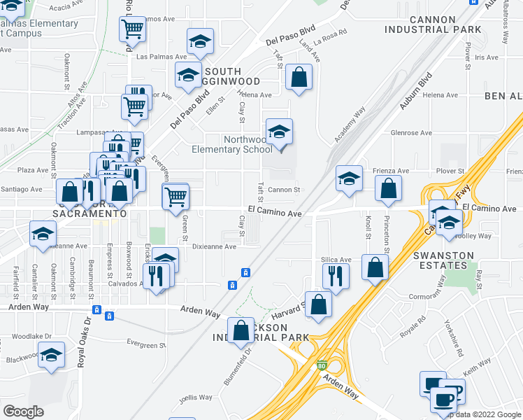 map of restaurants, bars, coffee shops, grocery stores, and more near 1251 El Camino Avenue in Sacramento