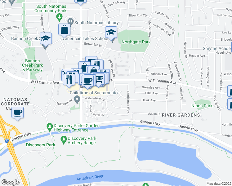 map of restaurants, bars, coffee shops, grocery stores, and more near 2450 Sea Mist Drive in Sacramento