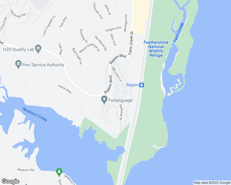 map of restaurants, bars, coffee shops, grocery stores, and more near Big Crest Lane in Woodbridge