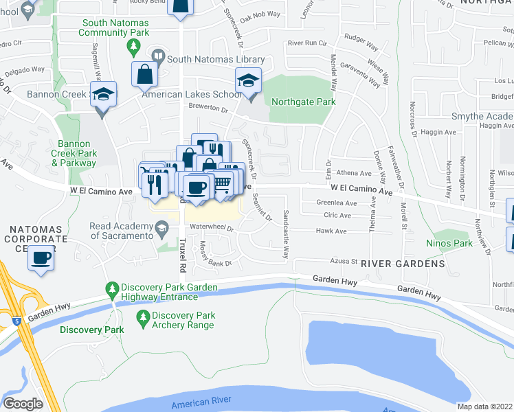 map of restaurants, bars, coffee shops, grocery stores, and more near 2-8 Whitecap Court in Sacramento
