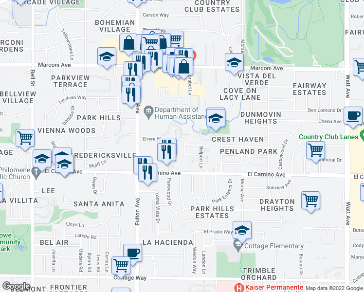map of restaurants, bars, coffee shops, grocery stores, and more near 2800-2810 Elvyra Way in Sacramento