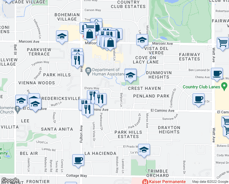 map of restaurants, bars, coffee shops, grocery stores, and more near 2835 Elvyra Way in Sacramento