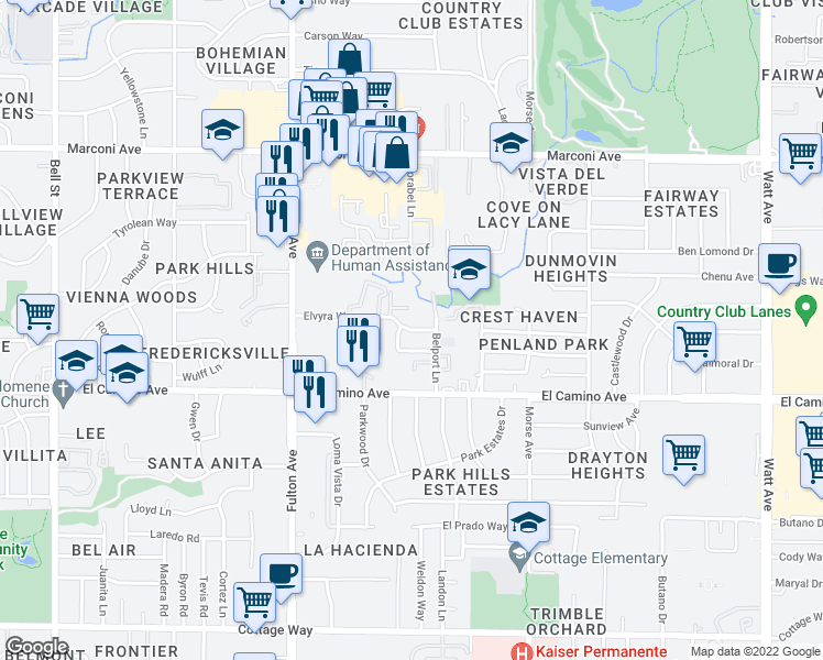 map of restaurants, bars, coffee shops, grocery stores, and more near 2837 Elvyra Way in Sacramento