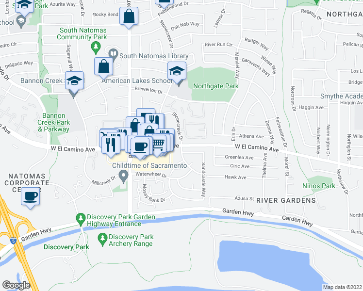 map of restaurants, bars, coffee shops, grocery stores, and more near W El Camino Ave & Sea Mist Dr in Sacramento