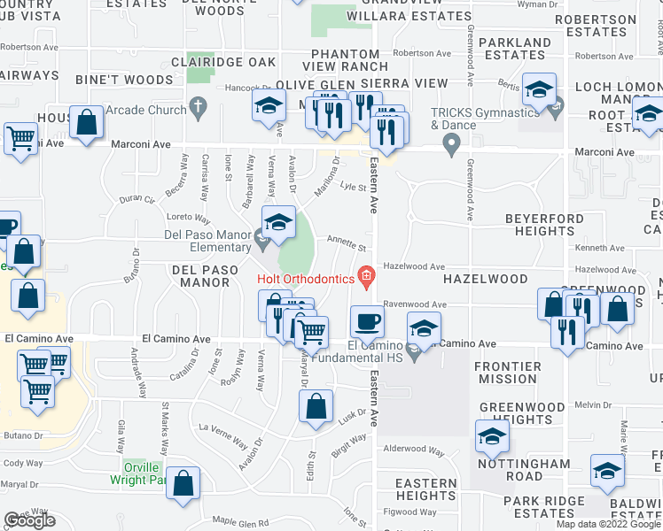 map of restaurants, bars, coffee shops, grocery stores, and more near 2661 Louisiana Street in Sacramento