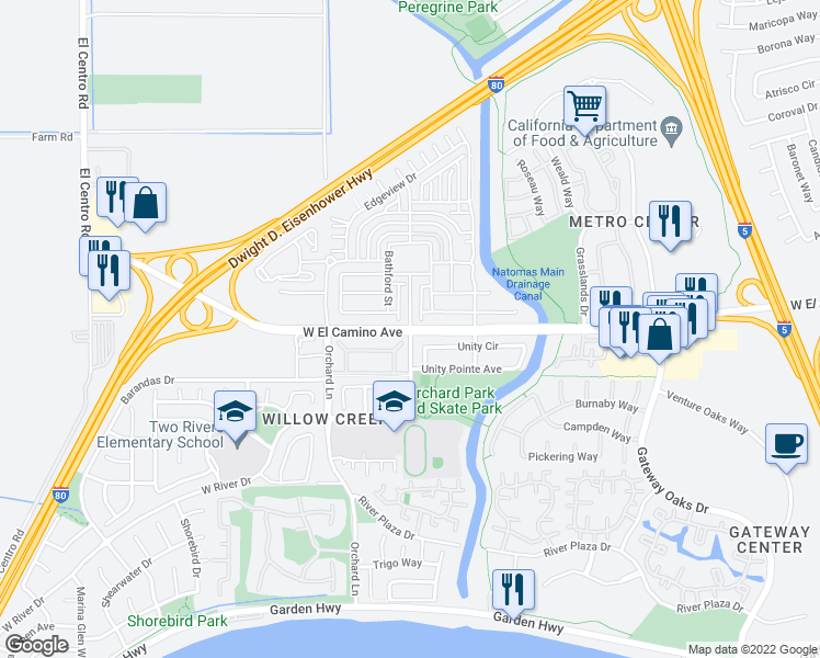 map of restaurants, bars, coffee shops, grocery stores, and more near W El Camino Ave & W River Dr in Sacramento
