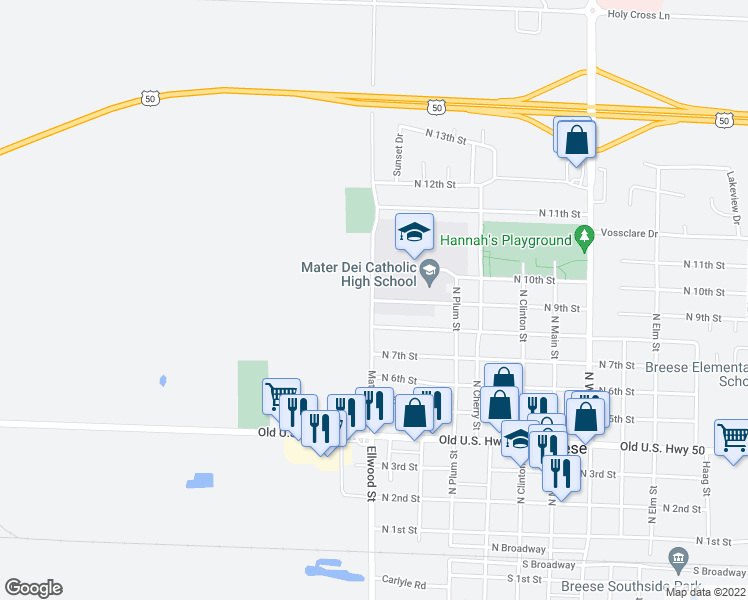 map of restaurants, bars, coffee shops, grocery stores, and more near 900 Mater Dei Drive in Breese