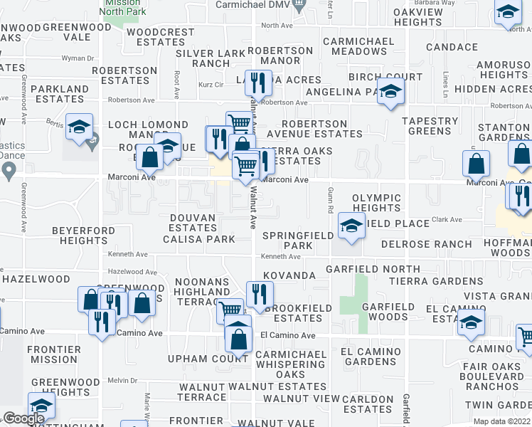 map of restaurants, bars, coffee shops, grocery stores, and more near 2800 Walnut Avenue in Carmichael