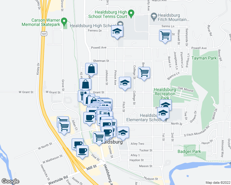 map of restaurants, bars, coffee shops, grocery stores, and more near Grant Street in Healdsburg