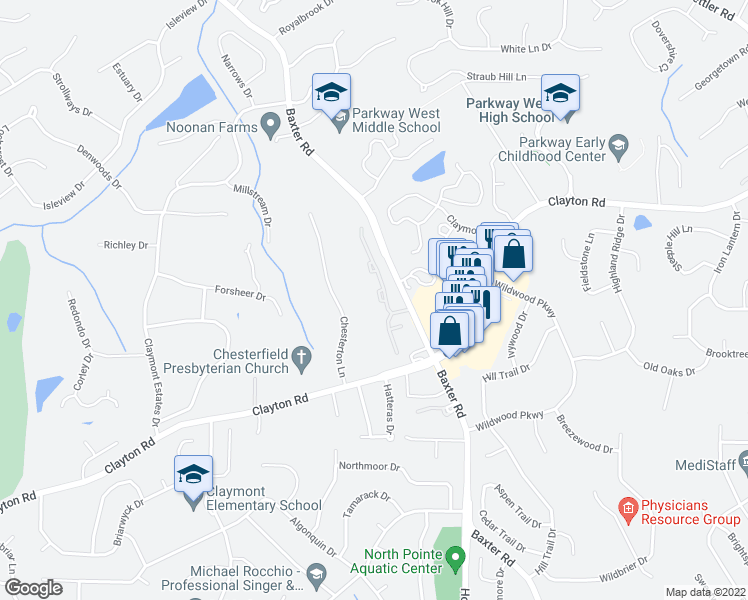 map of restaurants, bars, coffee shops, grocery stores, and more near 2425 Baxton Way in Chesterfield