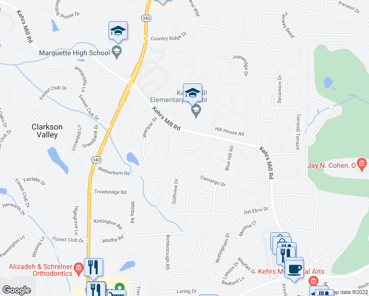map of restaurants, bars, coffee shops, grocery stores, and more near 15771 Carriage Hill Drive in Chesterfield