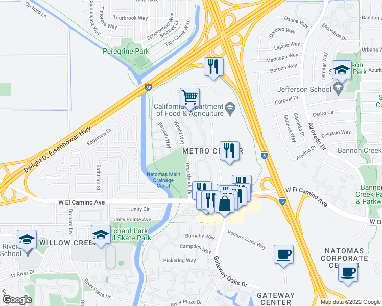 map of restaurants, bars, coffee shops, grocery stores, and more near 2910 Weald Way in Sacramento