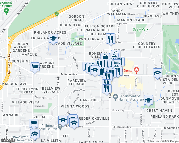map of restaurants, bars, coffee shops, grocery stores, and more near 2421 Marconi Avenue in Sacramento